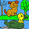 Alone dog and duck coloring game