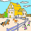 Big farm and horses coloring game