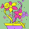 Butterflies and flowers in pot coloring game