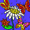 Butterflies in the flower garden coloring game