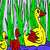 Duck family in the lake coloring game