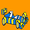 Fast striped racing car coloring game