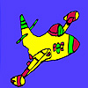 Fast flying colorful airplane coloring game