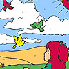 Girl and birds in the field coloring game
