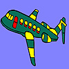 Green flying airplane coloring game