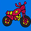 Mini red motorcycle coloring game