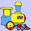 Mini green train coloring game