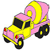 Pink concrete truck coloring game