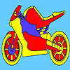 Red race motorcycle coloring game