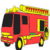 Red fire fighting car coloring game