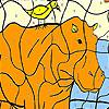 Rhino and bird coloring game