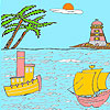 Sea and lighthouse coloring game