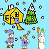 Snow and children coloring game