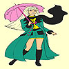 Umbrella and girl coloring game