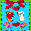Valentines day animals in frame coloring game
