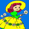 Village girl and flowers coloring game